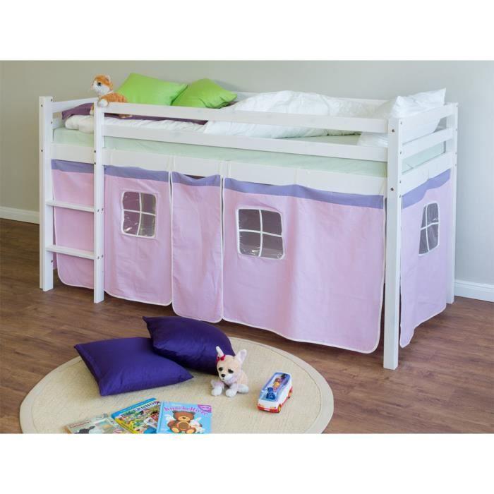 lit enfant superpos en pin massif avec chelle et rideaux rose clair achat vente lits. Black Bedroom Furniture Sets. Home Design Ideas