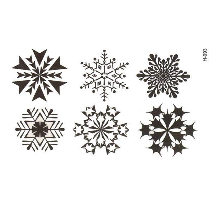 Tatouage temporaire 6 flocons toiles de neige noir achat vente tatoo bijou de corps - Dessin etoile des neiges ...