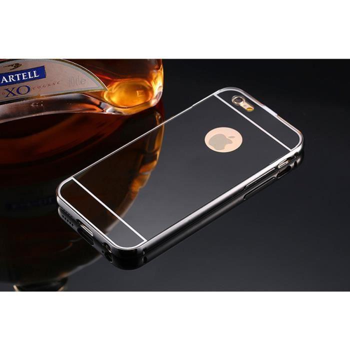 Miroir coque iphone 6 6s noir achat coque bumper pas for Application miroir iphone