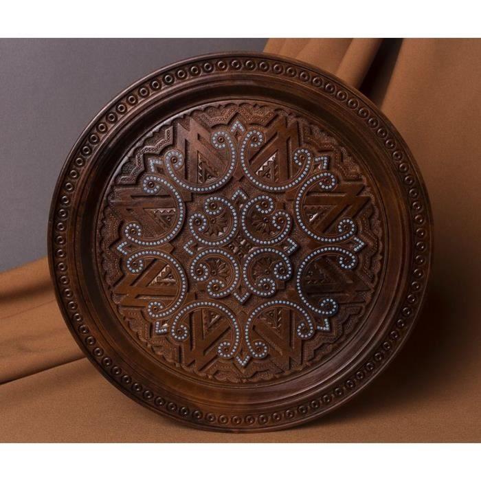 assiette d corative en bois achat vente objet d coration murale cadeaux de no l cdiscount. Black Bedroom Furniture Sets. Home Design Ideas