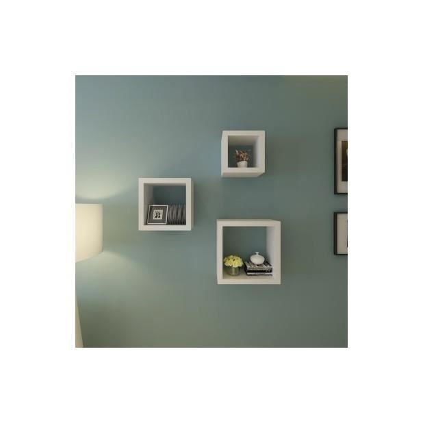 superbe etag res design murale 3 cubes blanc achat. Black Bedroom Furniture Sets. Home Design Ideas