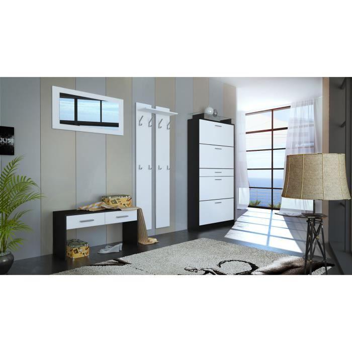 Ensemble de meubles d entr e noir et blanc mat achat for Ensemble meuble entree