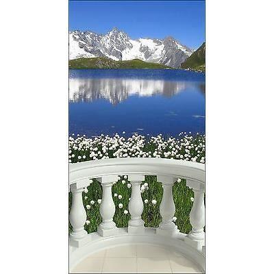 stickers trompe l oeil d co paysage montagne r f 1522 dimensions 90x180cm achat vente. Black Bedroom Furniture Sets. Home Design Ideas