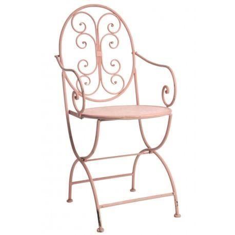 chaise bistrot boh me chic en fer forg rose avec. Black Bedroom Furniture Sets. Home Design Ideas