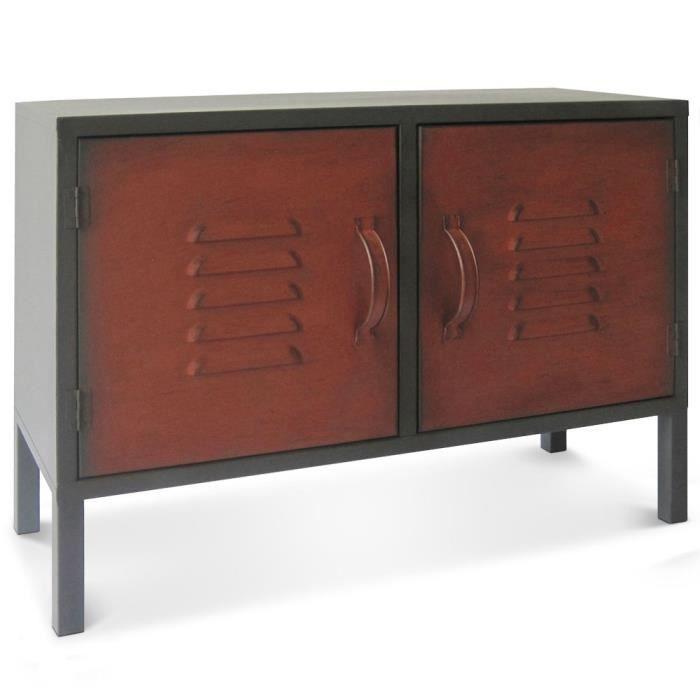 buffet en m tal 2 portes battantes rouges toline achat vente buffet bahut buffet en m tal. Black Bedroom Furniture Sets. Home Design Ideas