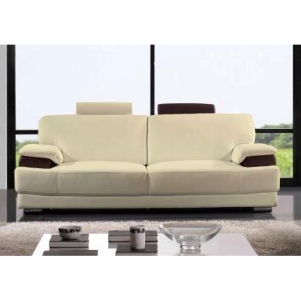 Canap 2 place en 100 cuir luxe ivoire et chocolat for Canape convertible luxe et confort