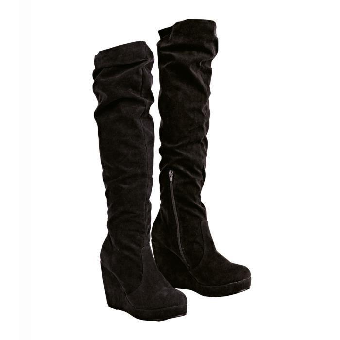 bottes hautes compens es avec pl noir achat vente bottes hautes compens es avec pl. Black Bedroom Furniture Sets. Home Design Ideas
