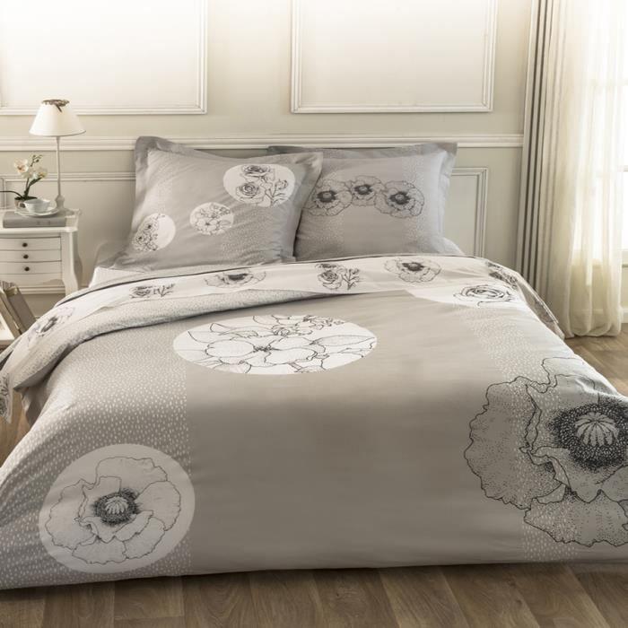 cotonflor parure de lit r verie gris 200 x 200 cm gris achat vente parure de drap cdiscount. Black Bedroom Furniture Sets. Home Design Ideas