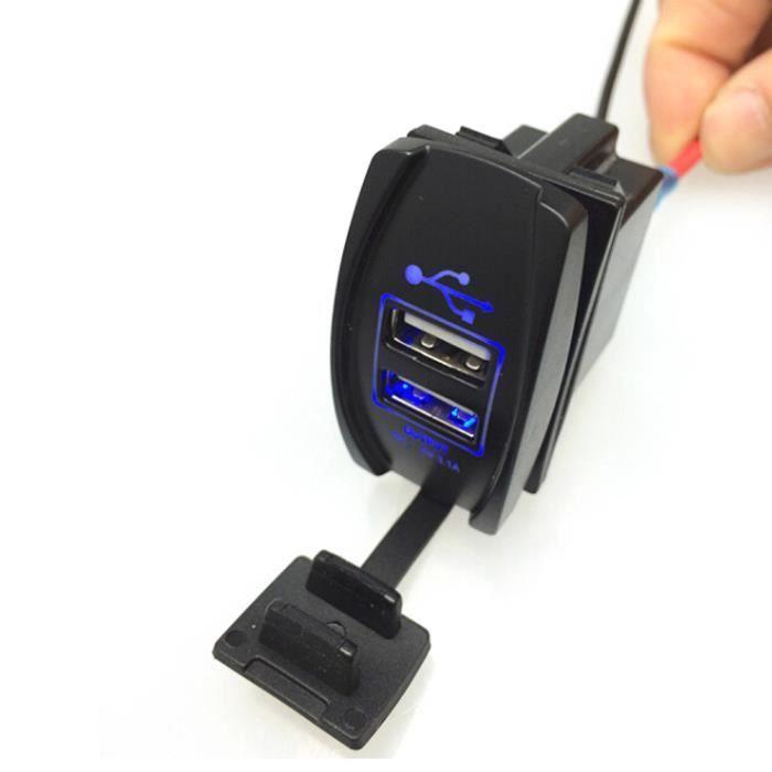 12v 24v chargeur double usb tanche auto moto 3 1a avec indicateur led blue pour ipad iphone. Black Bedroom Furniture Sets. Home Design Ideas