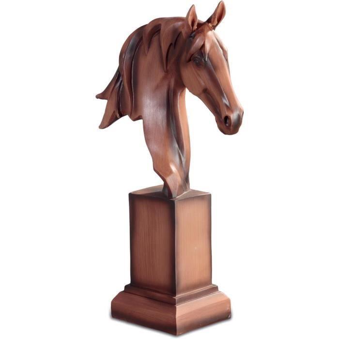 statuette figurine t te de cheval style bois achat vente statue statuette cdiscount. Black Bedroom Furniture Sets. Home Design Ideas