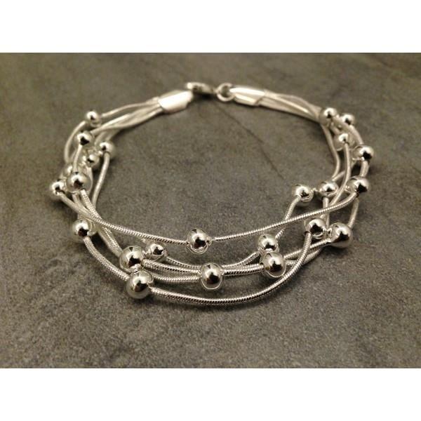 bracelet petites perles argent femme achat vente bracelet gourmette bracelet petites. Black Bedroom Furniture Sets. Home Design Ideas