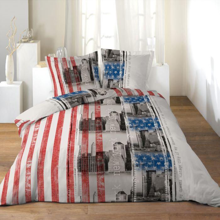 parure de couette microfibre 220x240 vintage flag achat vente parure de couette cdiscount. Black Bedroom Furniture Sets. Home Design Ideas