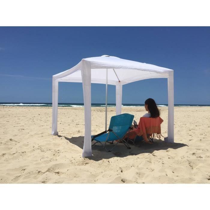Tente plage cabana avec son sac de transport blanc achat vente parasol parasol plage - Tente de plage ikea ...