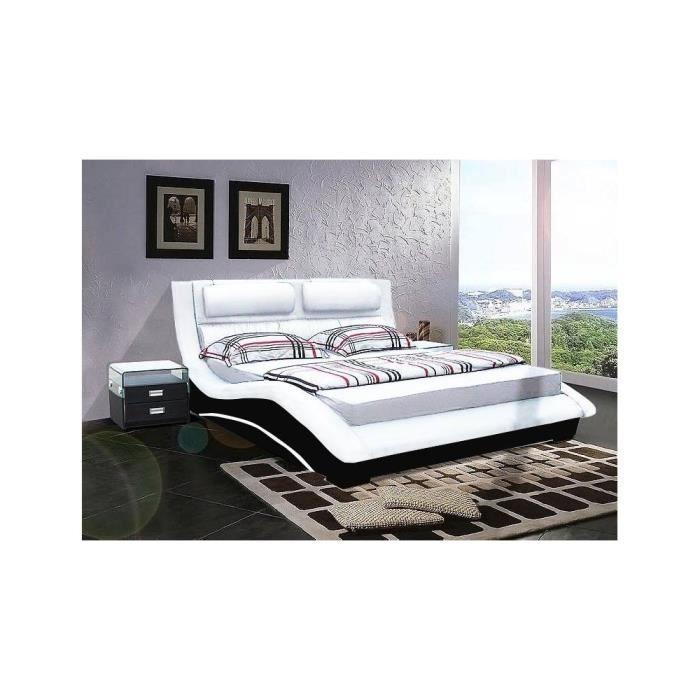lit cuir cleveland 140cmx190cm assise blanche c achat vente ensemble literie cdiscount. Black Bedroom Furniture Sets. Home Design Ideas