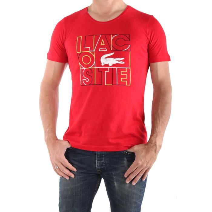 tee shirt lacoste rouge achat vente t shirt tee shirt lacoste cdiscount. Black Bedroom Furniture Sets. Home Design Ideas