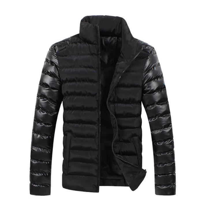 doudoune homme hiver de marque en cuir slim fit noir achat vente doudoune cdiscount. Black Bedroom Furniture Sets. Home Design Ideas