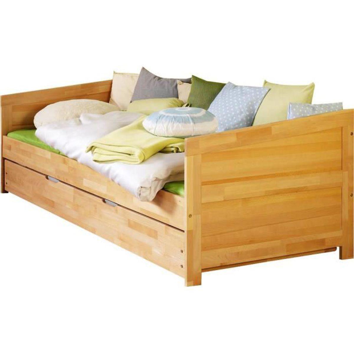 lit banquette avec un tiroir de couchage 90x200 cm en bois h tre massif h tre achat vente. Black Bedroom Furniture Sets. Home Design Ideas