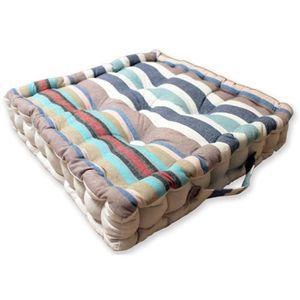 COUSSIN SOLEIL D'OCRE Coussin de sol Stripes 100% coton 40