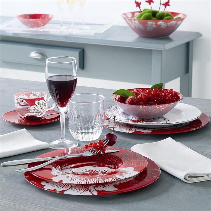 Luminarc ink flower lot de 6 coupelles achat vente for Set de table verre