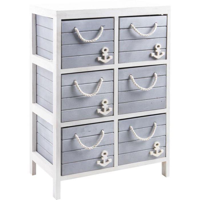 commode 6 tiroirs marina en bois et corde 48x29 achat. Black Bedroom Furniture Sets. Home Design Ideas