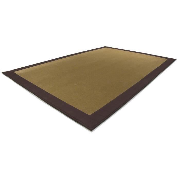 tapis pure laine mod le everest uni couleur beige fonc coton et polyester bord couleur. Black Bedroom Furniture Sets. Home Design Ideas