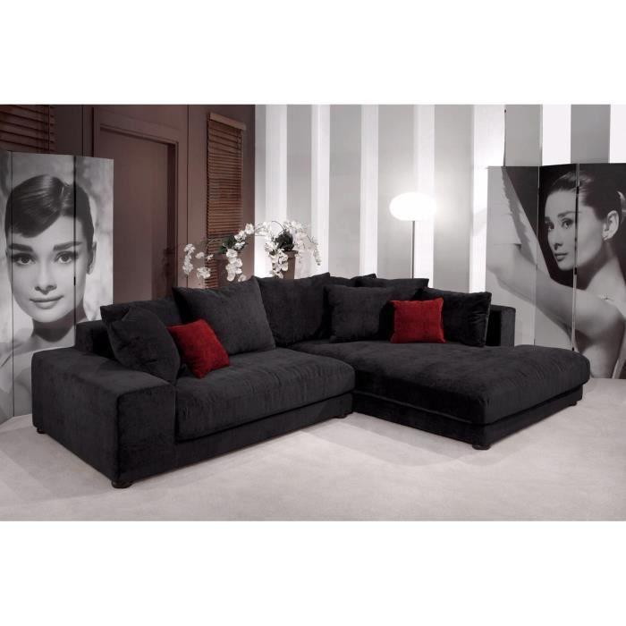 Canap d 39 angle droit microfibre noir sunny achat vente canap sofa - Canape d angle commandeur ...