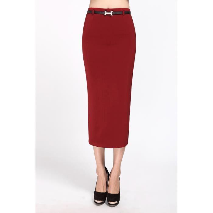 jupe longue fente de retour ensemble robe de dame de bureau de la hanche rouge noir rouge. Black Bedroom Furniture Sets. Home Design Ideas