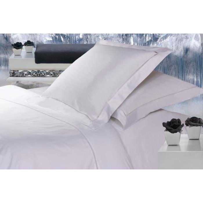 housse de couette jour echelle uni blanc satin de coton salome prestige achat vente housse. Black Bedroom Furniture Sets. Home Design Ideas