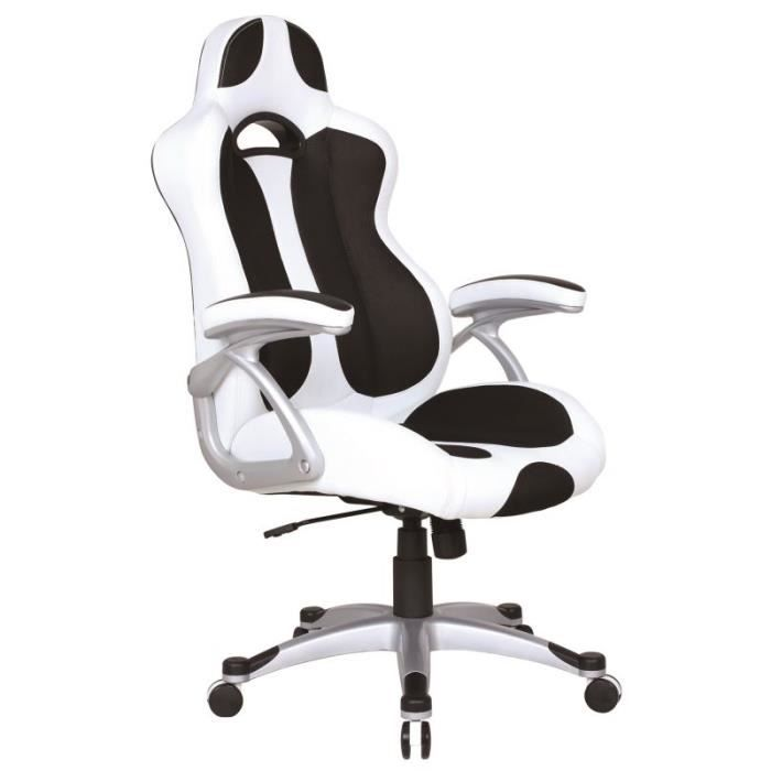 fauteuil de bureau si ge baquet ixion achat vente chaise de bureau blanc cdiscount. Black Bedroom Furniture Sets. Home Design Ideas