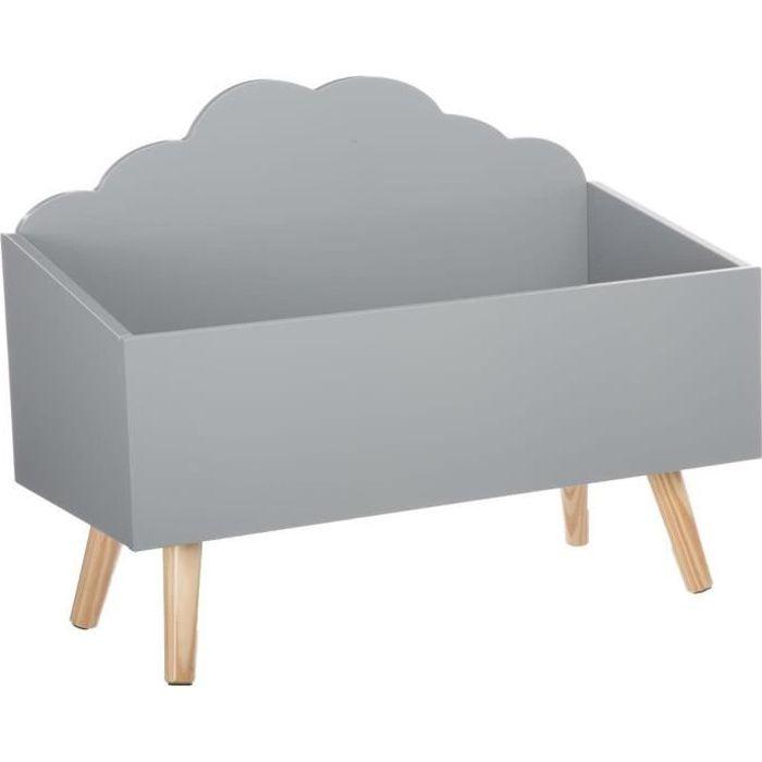 coffre jouets nuage gris en bois achat vente coffre. Black Bedroom Furniture Sets. Home Design Ideas