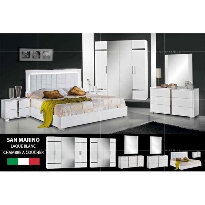 San marino laque blanc ensemble chambre a coucher achat vente chambre com - Ensemble chambre adulte ...