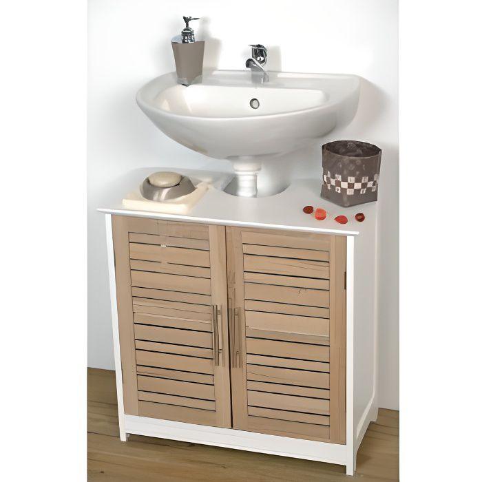 Meuble sous lavabo fa on bois achat vente meuble for Meuble sous lavabo bois