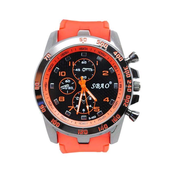 luxe homme montre sport casual quartz analogique montres orange achat vente montre luxe. Black Bedroom Furniture Sets. Home Design Ideas