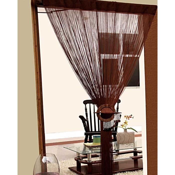 rideaux de fils chocolat 100 polyester achat vente. Black Bedroom Furniture Sets. Home Design Ideas