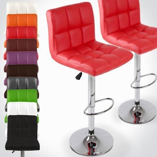 2 tabourets de bar rotatifs en hauteur rouge achat - Tabouret de bar hauteur 70 cm ...