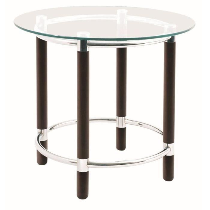 Table d 39 appoint en tube d 39 acier coloris tabac chrom Table d appoint reglable en hauteur