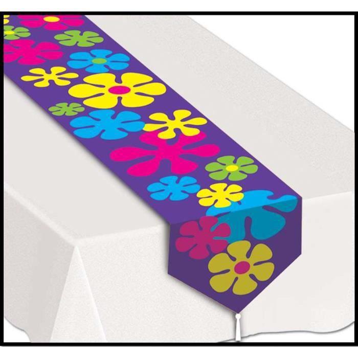 Chemin de table imprim flower power 27 cm x 15 achat for Chemin de table 180 cm