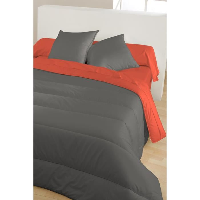 couette r versible grise et orange achat vente couette soldes d hiver d s le 6 janvier. Black Bedroom Furniture Sets. Home Design Ideas