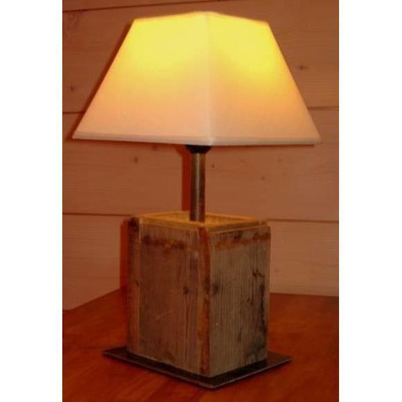 Lampe poser en bois 60 w boutica design achat for Lampe en bois artisanale