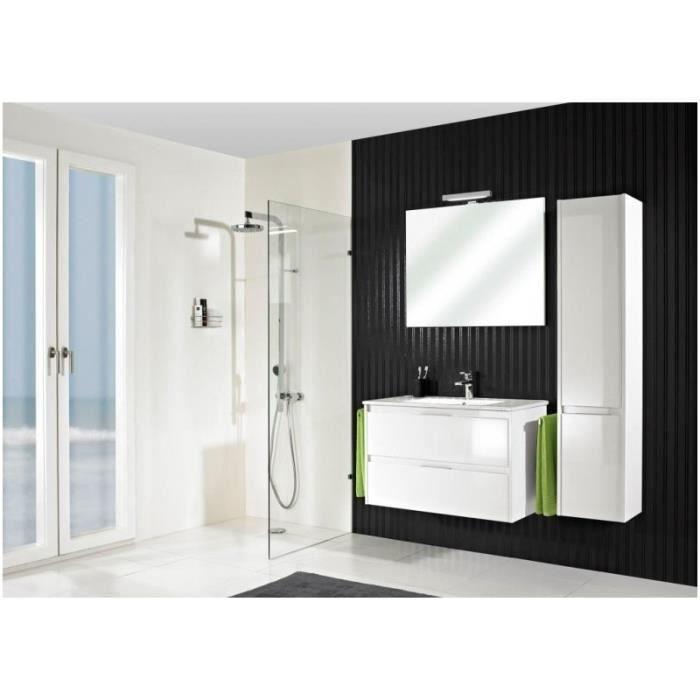 Meuble suspendu salle de bain calypso 90 taupe mat 90 cm for Meuble salle de bain taupe