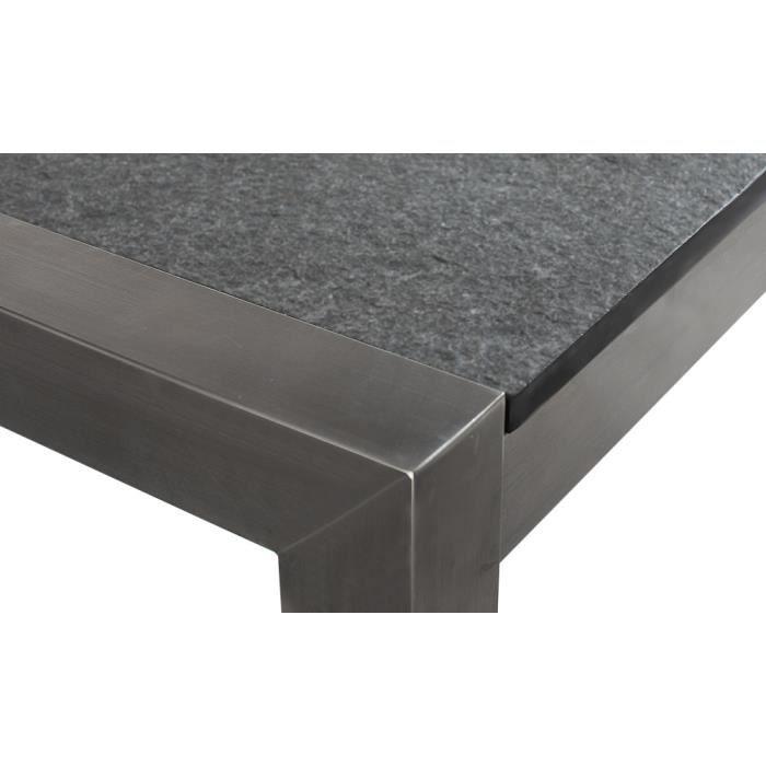 Table De Jardin Acier Inox Plateau Granit Triple Gris Poli 180 Cm Avec 6 Chaises En Rotin