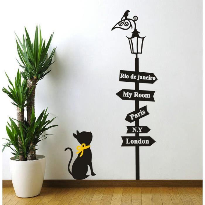 Amovible bricolage autocollant de chat noir d 39 oiseau for Decoration murale oiseau 3d