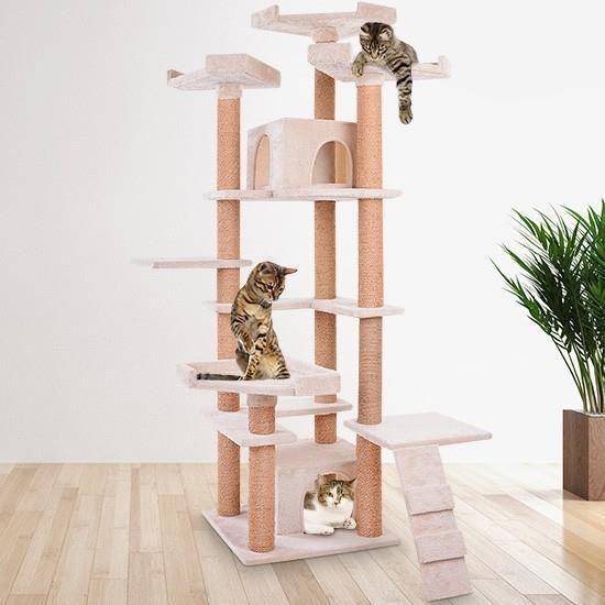 arbre chat griffoir grattoir beige 175 cm construction stable achat vente arbre chat. Black Bedroom Furniture Sets. Home Design Ideas