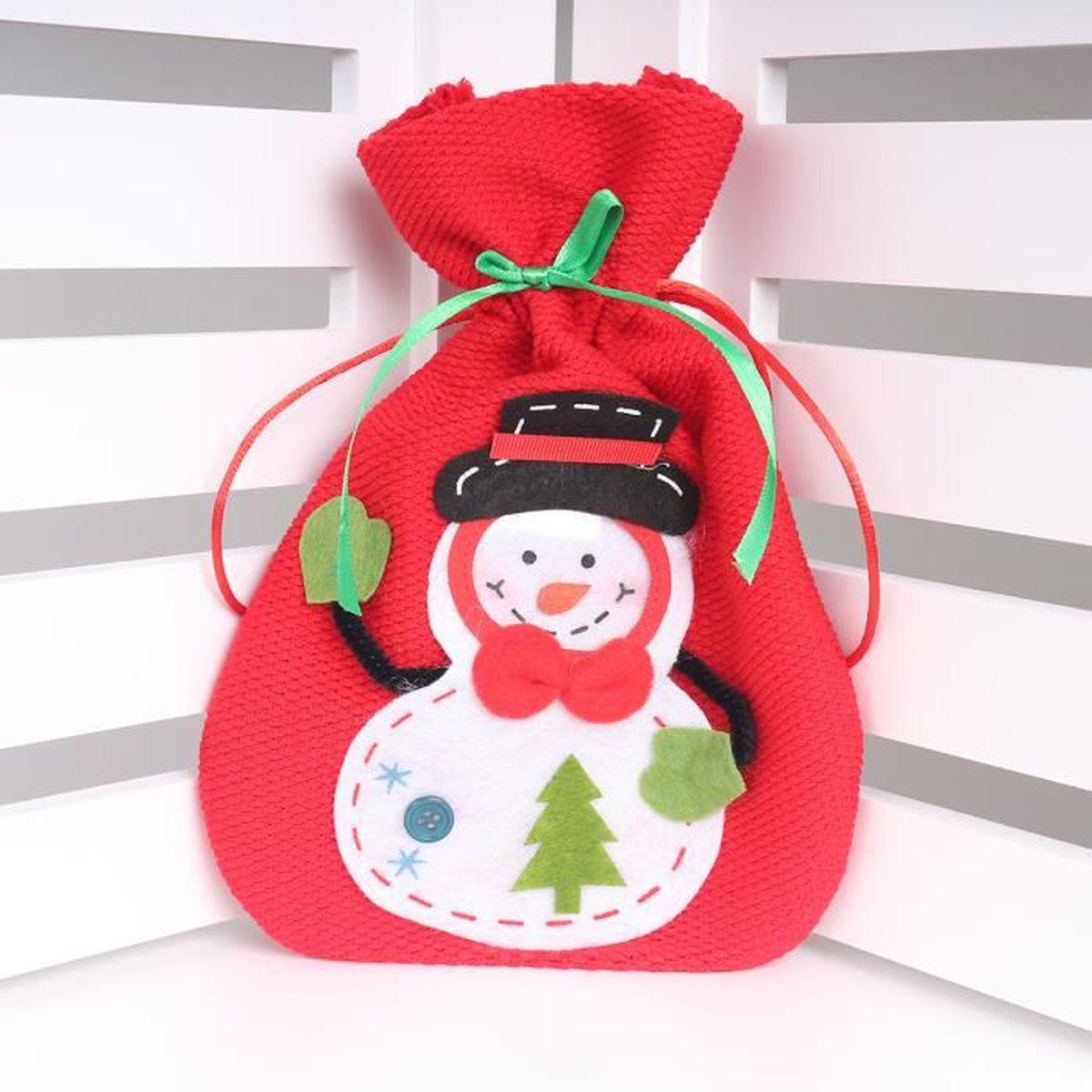 1pcs snowman d coration de no l cadeaux de tissu rouge for Achat decoration de noel