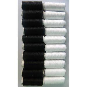 FIL A BRODER - A COUDRE 20 bobines de fil 10 noirs + 10 blancs à coudre co