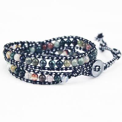 Bracelet 2 tours wrap pierre semi precieuse achat vente bracelet gourmette bracelet 2 for Pierre decorative murale pas cher