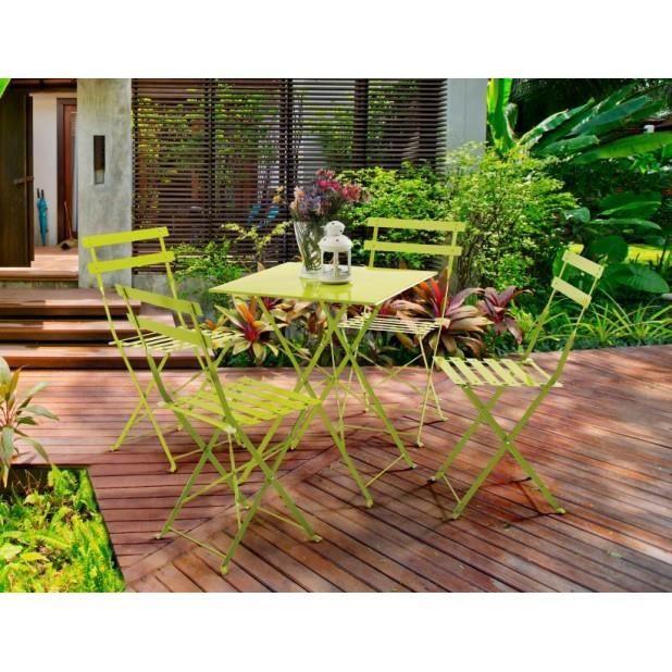 Magnifique Set De Balcon Gaia 4 Personnes Vert Anis Achat Vente Salon De Jardin Magnifique