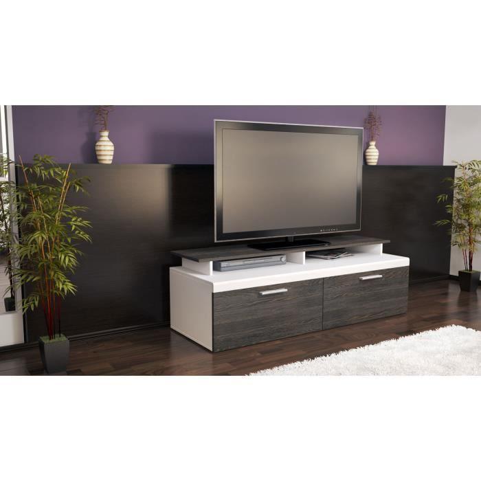 Meuble tv design blanc et bois weng 140 cm achat - Meuble tv wenge et verre ...