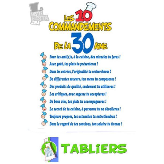 Tablier 10 commandements 30 aine achat vente tablier de cuisine cdiscount - Les tables des 10 commandements ...