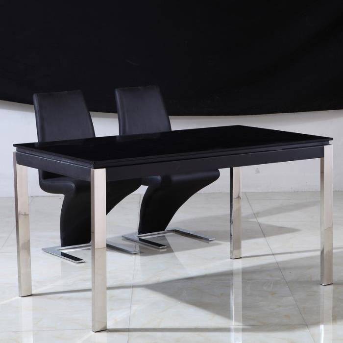 Table en verre noir et pieds inox leros achat vente - Table a manger verre noir ...